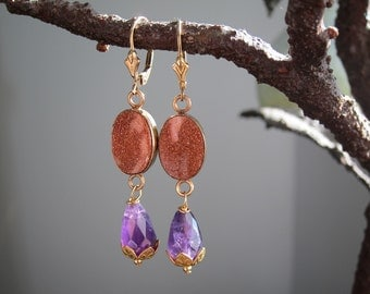 Vintage Jewelry Earrings with Vintage Goldstone and Amythest