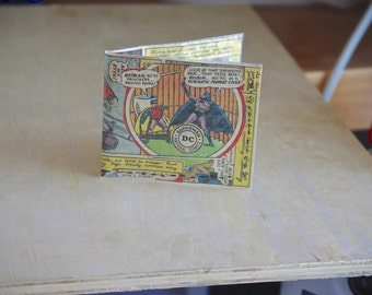 1966 Batman wallet recycled vintage comic book hand sewn comics billfold gift geeks boyfriend girlfriend handmade batman and robin 60s gift
