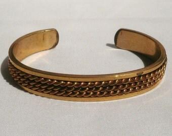 Vintage Brass Copper Cuff Bracelet