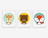 Keep clever little fox, Be brave little bear, Dream big little deer, Woodland animal children decor Art Prints Set of 3, Nursery Art