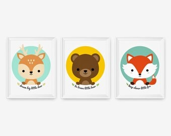 Keep clever little fox, Be brave little bear, Dream big little deer, Woodland animal children decor Art Prints Set of 3, Nursery Art