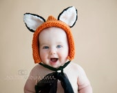 Baby Fox Foxy Handknit Photoprop Photo Prop Baby Toddler Bonnet Hat RTS Ready to Ship