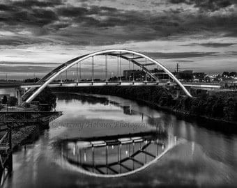 Black and white Gateway Bridge in Nashville TN