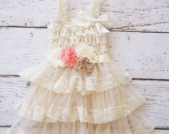 lace Flower Girl Dress -Champagne Flower girl Dresses - Ivory Girls Dress - baby rustic Flower girl dress - Lace dress - rustic wedding