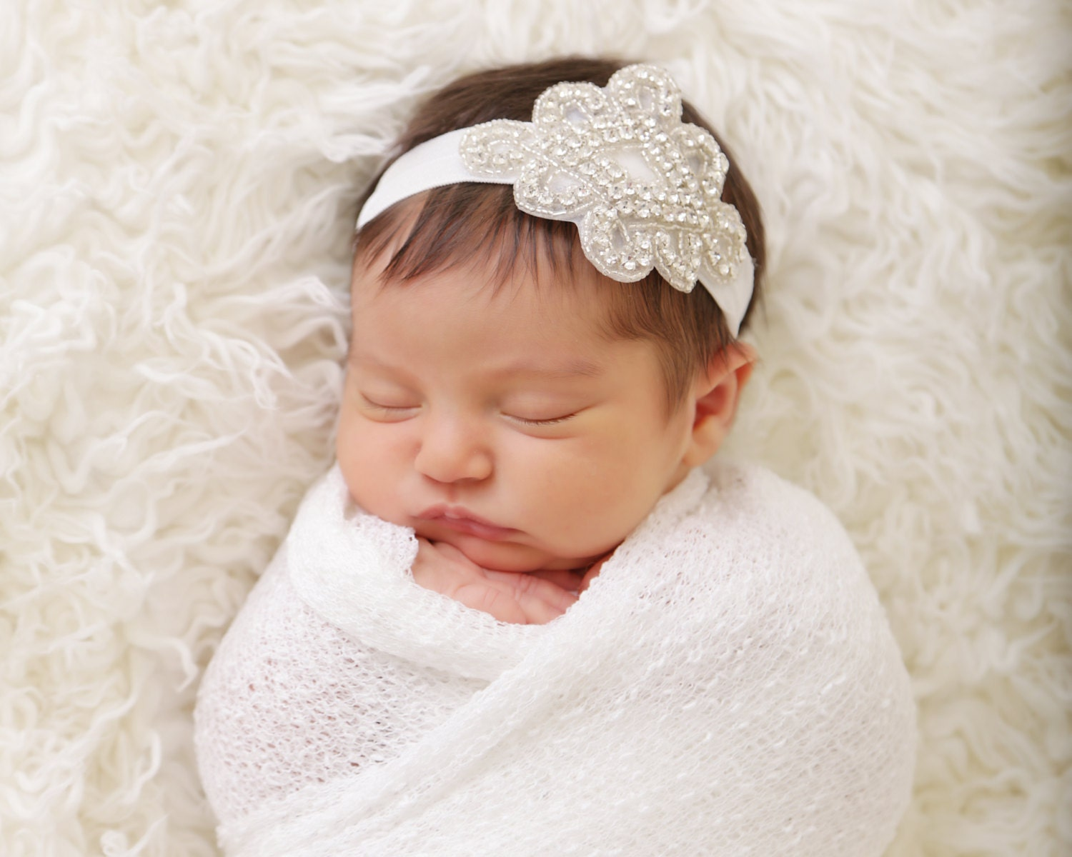 Newborn Baby Girl Dark Hair baby headband baptism ...