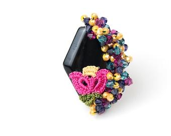 Rings-Pink Tulip Black Agate Handmade Crochet Bohemian Statement Oversized Adjustable Ring, Floral Jewelry, Fiber Jewelry, Gemstone Ring