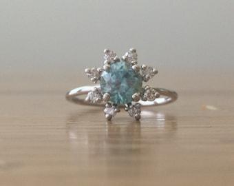 Blue Zircon Ring-Gemstone Jewelry-Gemstone Ring-Diamond Halo Ring-Jewelry-Artisan Jewelry-Diamond Cluster Ring-Round Zircon