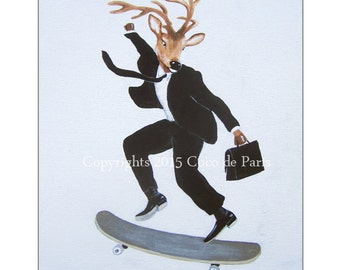 Deer on skateboard, Origial Acrylic Painting on canvas, handpainted, Original Abstract Painting Animal Art Contemporary Fine Art Wall Decor