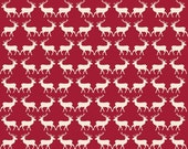 Postcards for Santa Deer in Red, My Mind's Eye, Marcia Cornell, Riley Blake Designs, 100% Cotton Fabric, C4753-RED