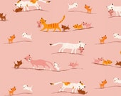Tiger Lily Marching Cats in Pink, Heather Ross, Windham Fabrics, 100% Cotton Fabric, 40931-1