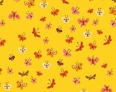 Tiger Lily Butterflies in Yellow, Heather Ross, Windham Fabrics, 100% Cotton Fabric, 40933-7