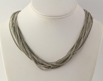 "Silver Multi-Strand Necklace - Women's Chunky Fashion 38.25""-40.25"" h1599"
