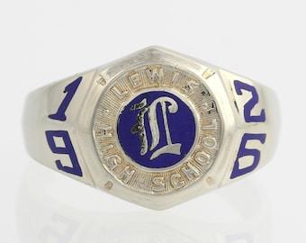 Lewis High School Class Ring - 14k White Gold Blue Enamel Polished 1925 F6577