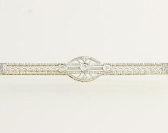 Edwardian Diamond Brooch - 14k Yellow Gold & Platinum Euro Cut Genuine .12ctw L3291