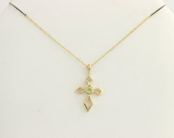 "Cross Pendant Necklace 18""-10k Yellow Gold Peridot CZ Cable Chain F3872"