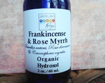 Frankincense & Rose Myrrh Hydrosol | Face Toner | Skin Healing | Pore Refining | Regenerative | Anti-Aging | 100% Organic | Rose | Face Care