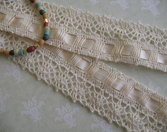2 Yard - Vintage Cluny Lace Trim with interlocking satin ribbon Neutral Ivory