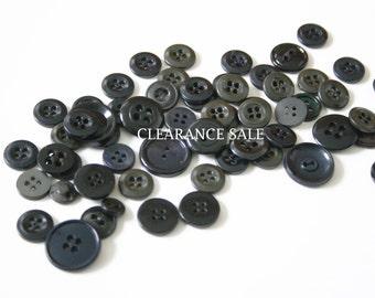 Vintage Black Plastic Buttons, Black Vintage Buttons, Plastic Black Buttons, Destash Lot, Sewing Supplies, Vintage Buttons Lot, Black Button