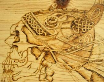 Wood burned Viking Skull Plaque; Norse Skull; Viking Plaque; Wood burned Skull, Rustic Plaque