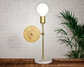 Halo 2 - Mid century modern table lamp / Unfinished solid brass