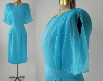 1950s Style Dress, Vintage Inspired Dress, Blue Silk Wiggle Dress, Retro 50s Style Dress, Vintage Style Dress, 1950 Blue Silk Dress, Pin Up