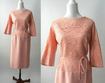 Vintage 50s Pink Dress, 1950s Pink Lace Dress, Retro 50s Dress, Large Size Vintage Dress, Vintage Pink Wedding Dress, Mother of the Bride