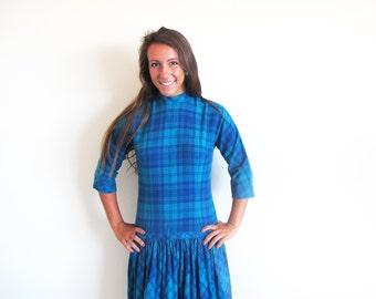 Vintage 50s Wool Dress, Blue Plaid Dress, Drop Waist Dress, by Jonathan Logan