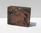 Vintage Copper Print Block: Copperplate Printer Block, Eagle Letterpress Print Block