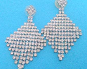Vintage Rhinestone Diamond Shaped Drop Pierced Earrings