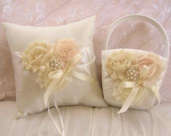 Flower Girl Basket and Pillow  Vanilla Rose Blossom Ivory Ring Bearer Pillow, Flower Girl Basket Set Wedding Pillow