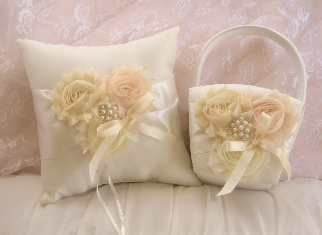 Flower Girl Baskets And Ring Pillows : Flower girl basket and pillow vanilla rose blossom ivory ring