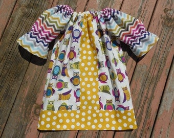 Fall 2015 Girl's Infants Toddlers Owls and Chevron Peasant Dress