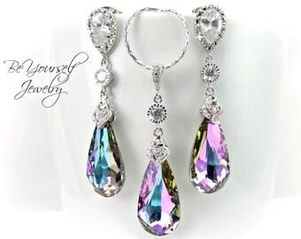 Vitrail Light Bridal Earrings Pink Purple Bride Necklace Swarovski Crystal Lavender Wedding Jewelry Lilac Bridesmaid Gift Zirconia Sterling