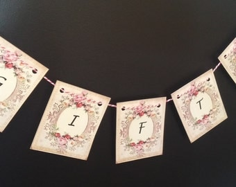 Floral Personalized wedding sign Decorative Welcome baby banner Victorian wedding table numbers roses banner mint banner