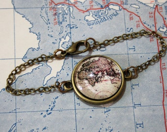 Vintage World Map Bracelet - Bangle bronzecolored special gift ancient globe travel