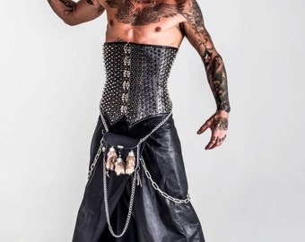 Silver spike male corset