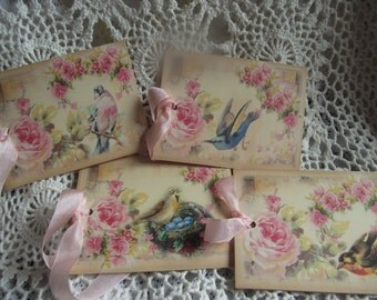Bird Gift Tags Shabby Chic Style With Pink Seam Binding Ribbon  Party Favors Tie ON Package Journal Tags  Book Marks Hang Tags