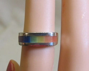 Rainbow Glass Sterling Silver Ring, Charles Winston, 5.25