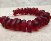 Red Velvet Bracelet:  Cherry Red Sea Glass Beaded Pebble Bracelet, Valentines Day Beach Wedding Jewelry