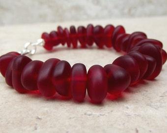 Red Velvet Bracelet:  Cherry Red Sea Glass Beaded Pebble Bracelet, Valentines Day Beach Wedding Jewelry