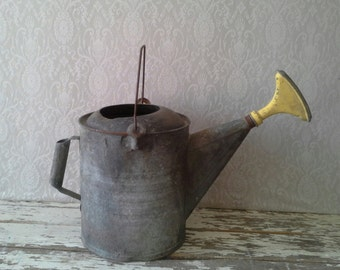 Watering Can, antique Watering can, Galvanized can, Vintage watering Can, Can with Spout, Metal, Industrial, Garden decor