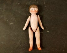 """Vintage / Antique Jointed Bisque Doll. Molded Brown Hair and Painted Features, Germany, 3"""" tall (c.1890s) N3 - Collectible Frozen Charlotte"""