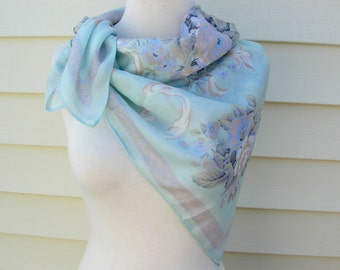 SUMMER SALE Square Aqua Scarf, pretty traditional floral design, feminine, vintage