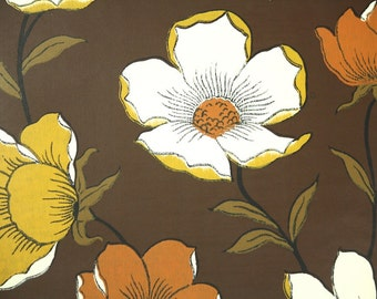 Vintage Wallpaper by the Yard 70s Retro Wallpaper - 1970s Golden Yellow Rust Orange and Ivory Flowers on Brown