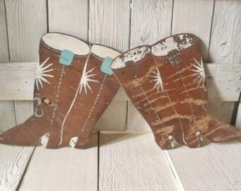 Vintage cowboy boot wood cutouts hand painted wall decor