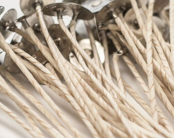 """5 ECO CANDLE WICKS, #10, 6"""" pre-tab (Set of 5) Natural Cotton"""