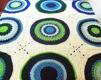 SALE! Circles in Squares Afghan - Hand Crocheted Blue and Green Spectrum Throw - WAS 75.00 USD