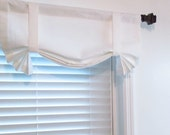 Solid White Tie Up Curtain VALANCE Handmade in the USA