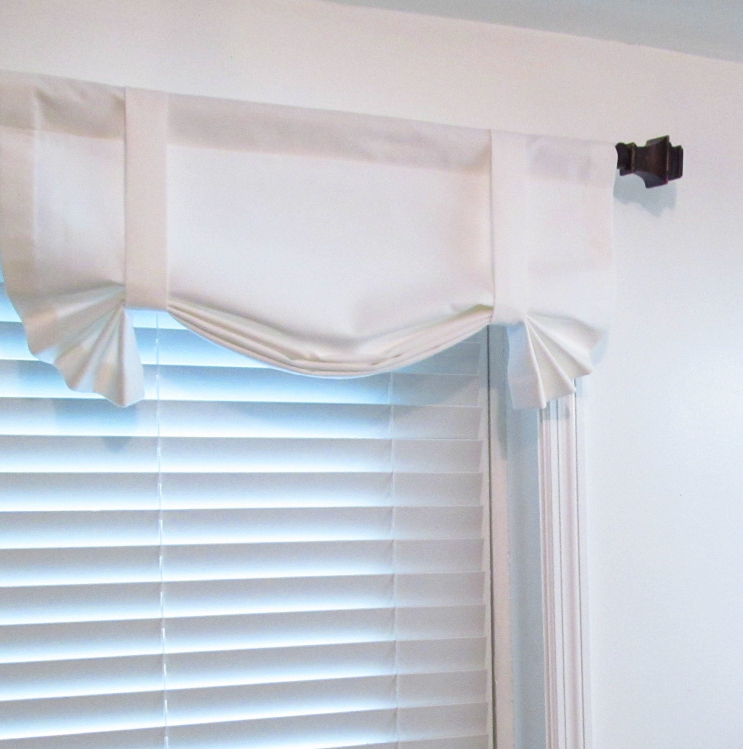 solid white tie up window valance custom sizing available. Black Bedroom Furniture Sets. Home Design Ideas