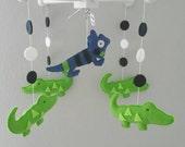 Baby Crib Mobile- alligator Mobile- Navy green Mobile-Crocodrille mobilecustom Made Mobile